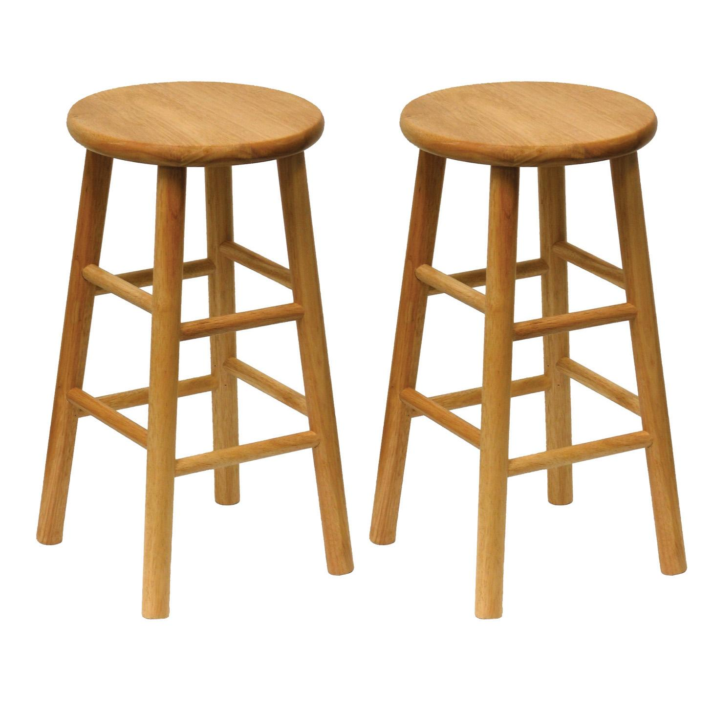 Winsome Wood Wood 24 Inch Counter Stools Set Of 2 Natural Finish Kitchen Dining