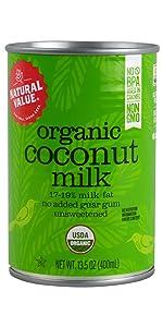 organic natural value coconut milk