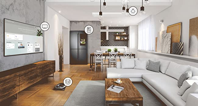 Living room with several smart home devices and appliances