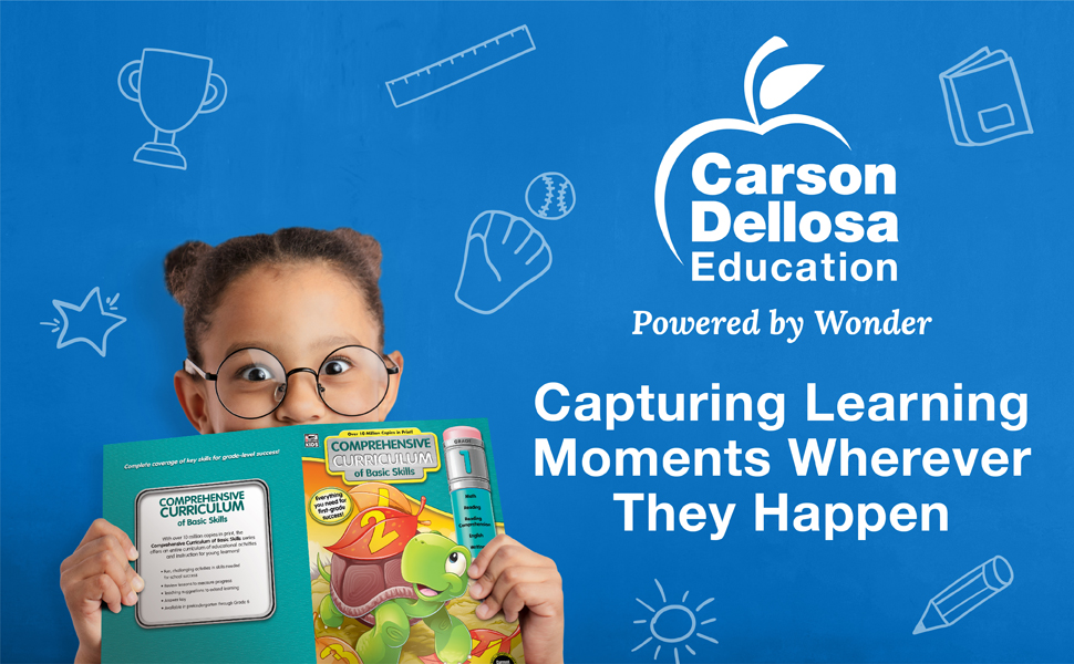 First grade girl holding a workbook in front of her face with the carson dellosa slogan