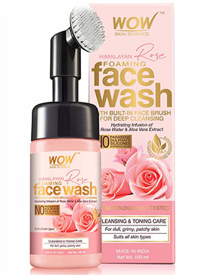 WOW SKIN SCIENCE HIMALAYAN ROSE FOAMING FACE WASH WITH BUILT-IN FACE BRUSH