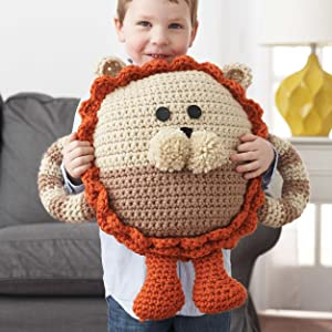 knit pillow lion