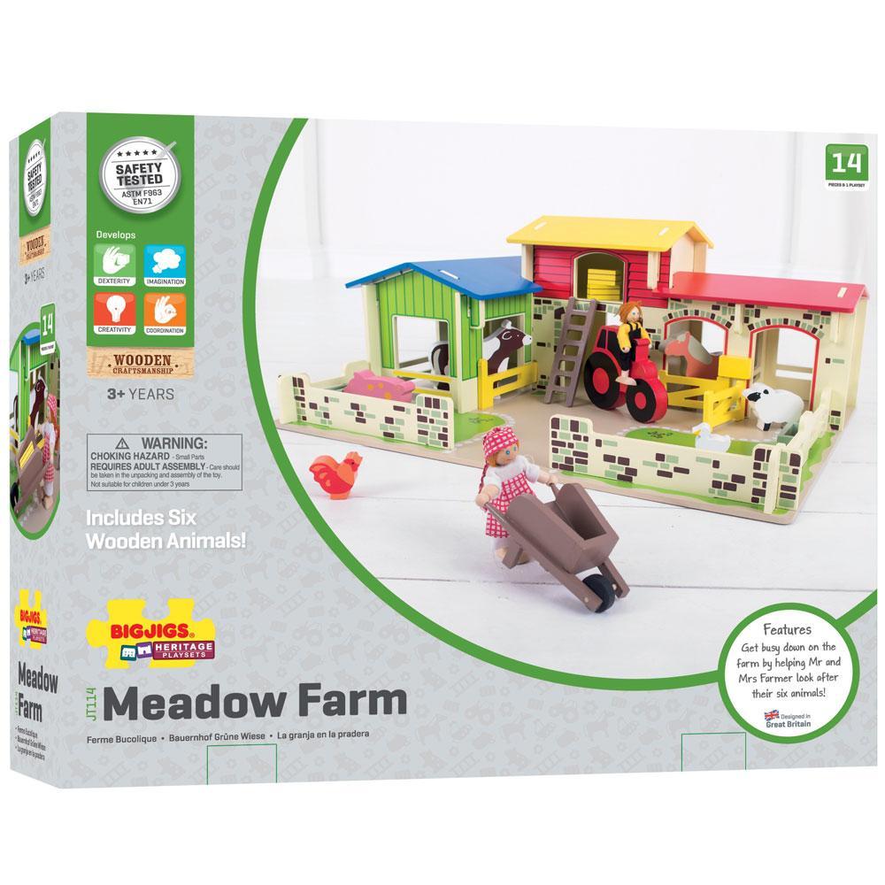 Amazon.com: Bigjigs Toys Heritage Playset Meadow Farm - 16 Play ...