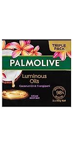 Palmolive Luminous Oils Coconut Oil & Frangipani Cream Body Bar 3 x 90g