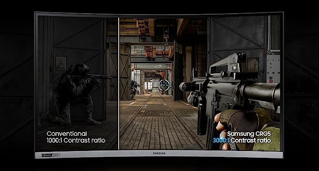 Comparison of Conventional 1000:1 Contrast Ratio v/s Samsung CRG5 3000:1 Contrast Ratio