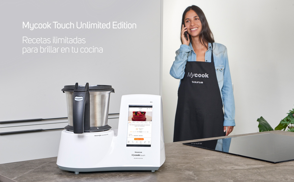 Taurus Mycook Touch Unlimited Edition - Robot de Cocina, wifi, 1600W, 2L, hasta 140 grados, multifunción, más de 10.000 recetas, Vaporera 2 niveles y cestillo, Blanca: Amazon.es: Hogar