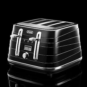 4 slice toaster black delonghi
