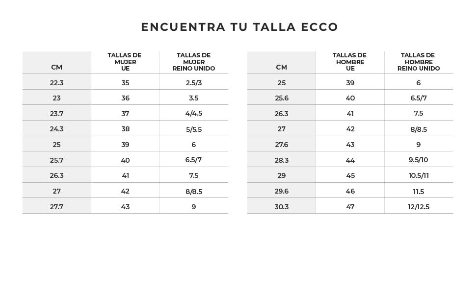 Encuentra tu talla ECCO