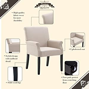 Merax Stylish Accent Chair/ Dining Chair With Armrest And Nailhead Trim