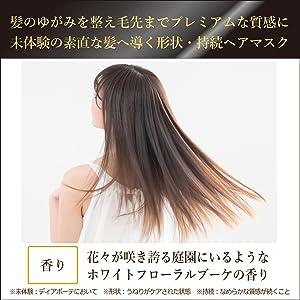 髪のゆがみを整え毛先までプレミアムな質感に 未体験の素直な髪へ導く形状・持続ヘアマスク