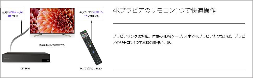 ブラビアリンクに対応。付屬のHDMIケーブル1本で4Kブラビアとつなげば、ブラビアのリモコン1つで本機の操作が可能です。