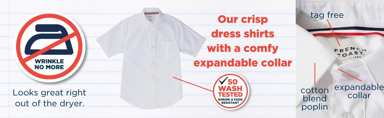b1a60e5068fad French Toast Boys' Short Sleeve Poplin Dress Shirt