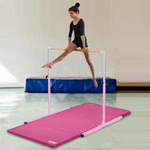 Safly Zone Gymnastics Junior Training Bar for Kids| Expandable Gym Jr  Horizontal Kip Bar for Gymnast Beginner Home Training Pink/Blue
