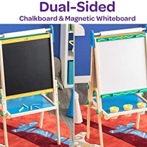 Dual Sided, Easel, Chalkboard, Whiteboard, Painting, Paint Pots, Paper, Craft, Art, Kids, Colour