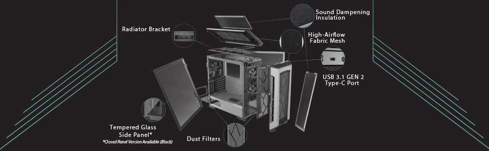 Radiator tempered glass airflow bracket