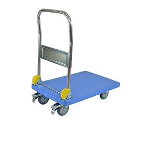 mango plegable 150 kg de capacidad de carga AnxPxAl: 71 x 45,5 x 92 cm azul T-EQUIP Y1-120 Carretilla con plataforma