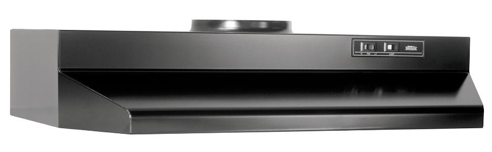 190 CFM 30-Inch Broan 423023 ADA Capable Under-Cabinet Range Hood Black