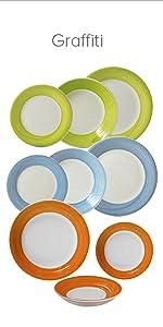 Vajilla porcelana Pierre Cardin Q0453 Q1869, Vajilla porcelana Brunchfield Q1184 Q1195, Vajilla porcelana colección Graffiti Q2169 Q2170 Q2350 ...