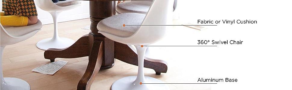 Dining, Chairs, Midcentury, Mid Century, Eames, Plastic, Cushion, White, Tulip, Kitchen, Restaurant