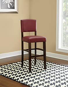 Marvelous Linon Monaco 30 Dark Red Bar Stool 17 75W X 19 5D X 44 8H Machost Co Dining Chair Design Ideas Machostcouk