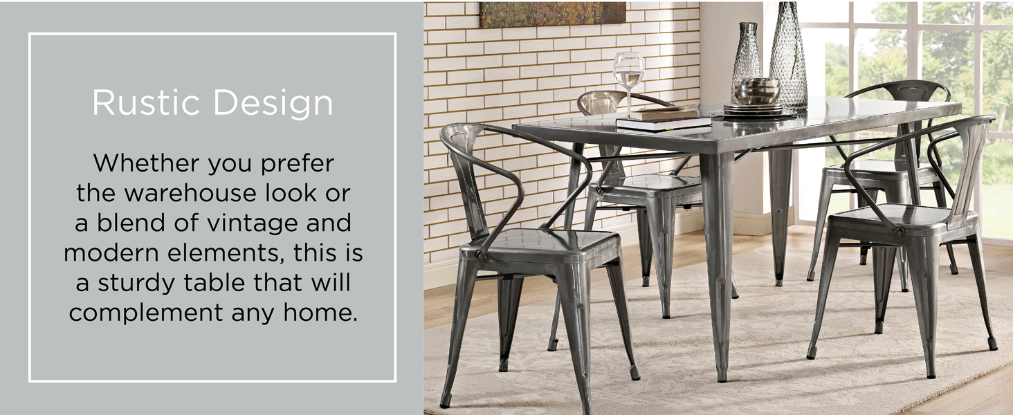 Modway Alacrity Industrial Modern Stainless Steel Metal Dining Table, 59 5