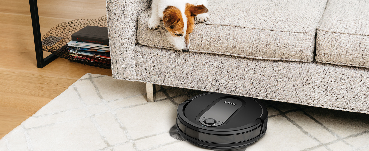 Robot vacuum cleaning under a couch that a dog is sitting on