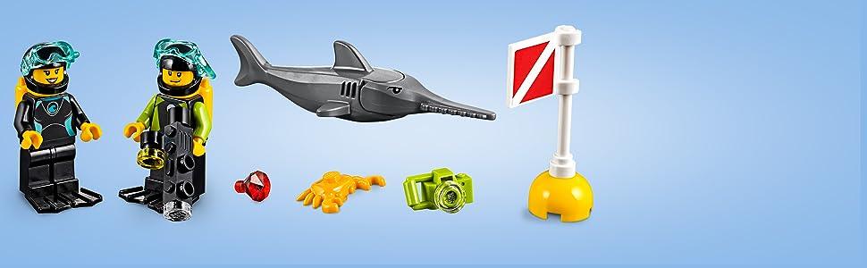 LEGO, City, fish, scuba