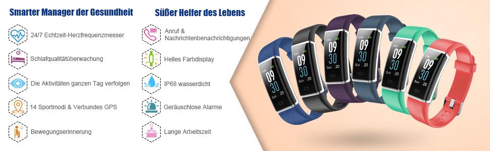 fitness armband mit pulsmesser farbdisplay