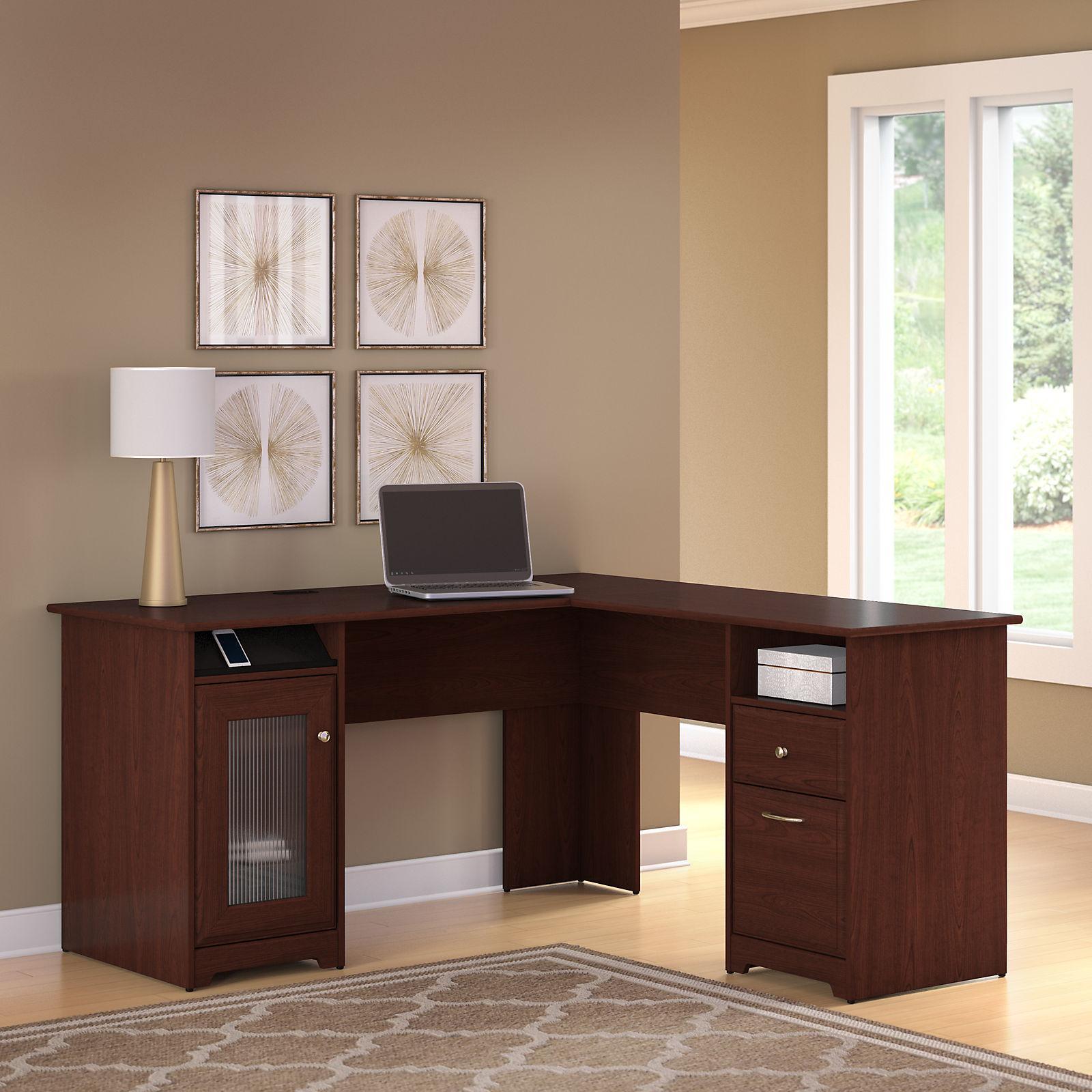Amazon Com Bush Furniture Cabot L Shaped Desk In Harvest