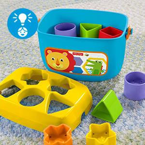 ​Classic stacking and sorting fun that introduces baby to shapes, colours & more!