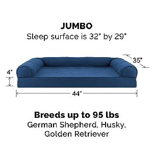 furhaven; image; size; dimensions; pet; bed; sofa