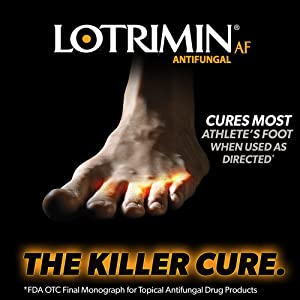 Foot showing infected areas between toes and the words Clinically Proven to Cure Most Athlete's Foot