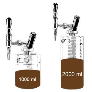 2L Kegs can be poured into 1L coffee;