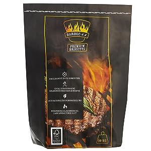 Barbec-U 10 kg de briquetas de carbón vegetal BBQ premium, carbón para barbacoa