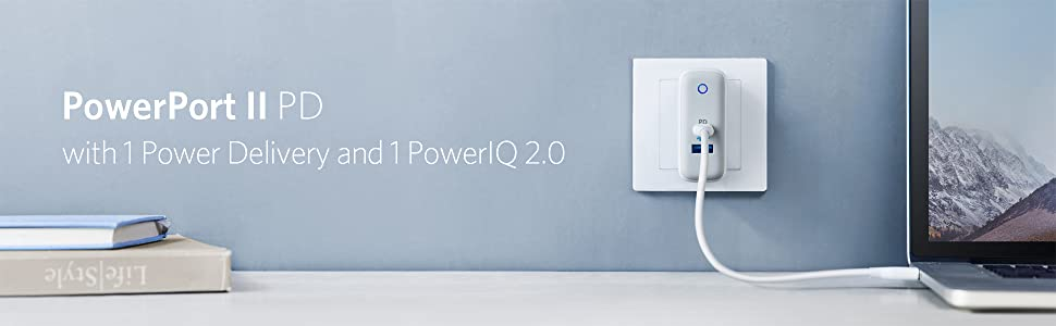 ANKER PowerPort II PD with USB-C PD and PowerIQ 2.0 Wall Charger的圖片搜尋結果