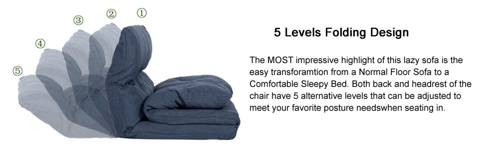 Amazon Merax Adjustable Fabric Folding Chaise Lounge Sofa