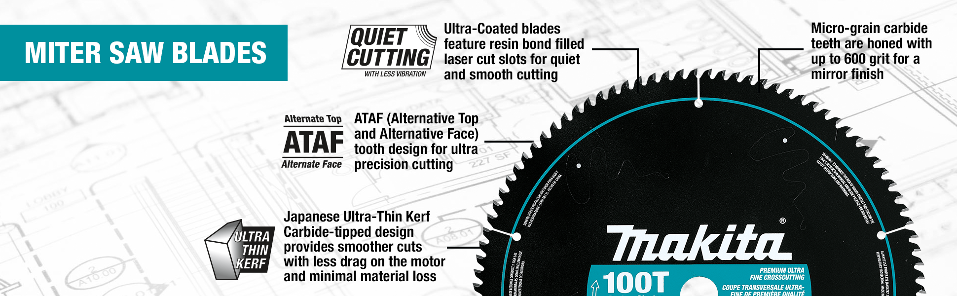 best website f0ec8 7aae2 Makita A-94817 12-Inch 100 Tooth Ultra Coated Mitersaw Blade - Miter ...