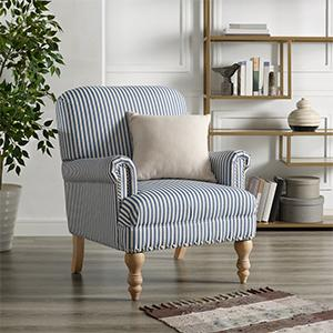 Beige Accent Chairs With Blue Stripes.Dorel Living Jaya Accent Chair Blue