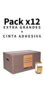 Pack 10 Cajas Carton Mudanza y Almacenaje XL Ultra Resistentes con Asas, 100% ECO Box | Packer PRO: Amazon.es: Oficina y papelería