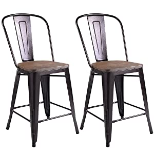 Fabulous Costway Copper Set Of 2 Tolix Style Metal Dining Chairs With Wood Seat Stackable Industrial Cafe Side Chairs Gmtry Best Dining Table And Chair Ideas Images Gmtryco