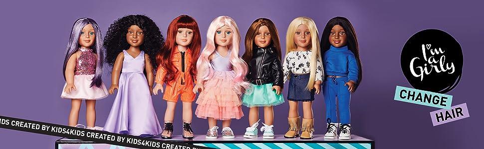 I'M A GIRLY fashion dolls, dolls, 18 inch dolls, dolls with wigs, doll wig, doll and wig