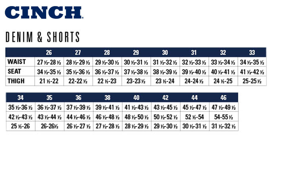 Cinch Jeans and Shirt Size Chart