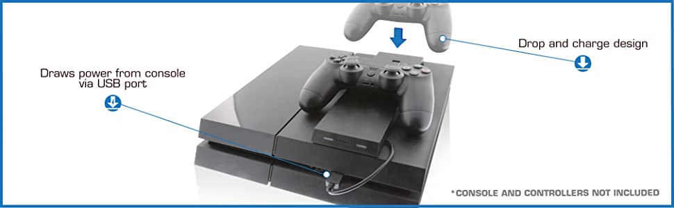 Dual Port Controller Charging Station with Patented Charging Dongles for All PS4 Nyko Modular Charge Station PS4 Slim and PS4 Pro New Version