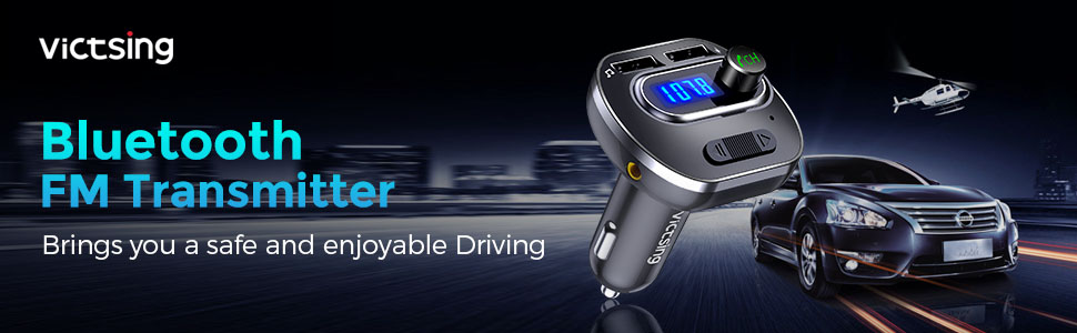 VicTsing Car Bluetooth FM Transmitter Adapter USB Stick Micro SD AUX Hands-free