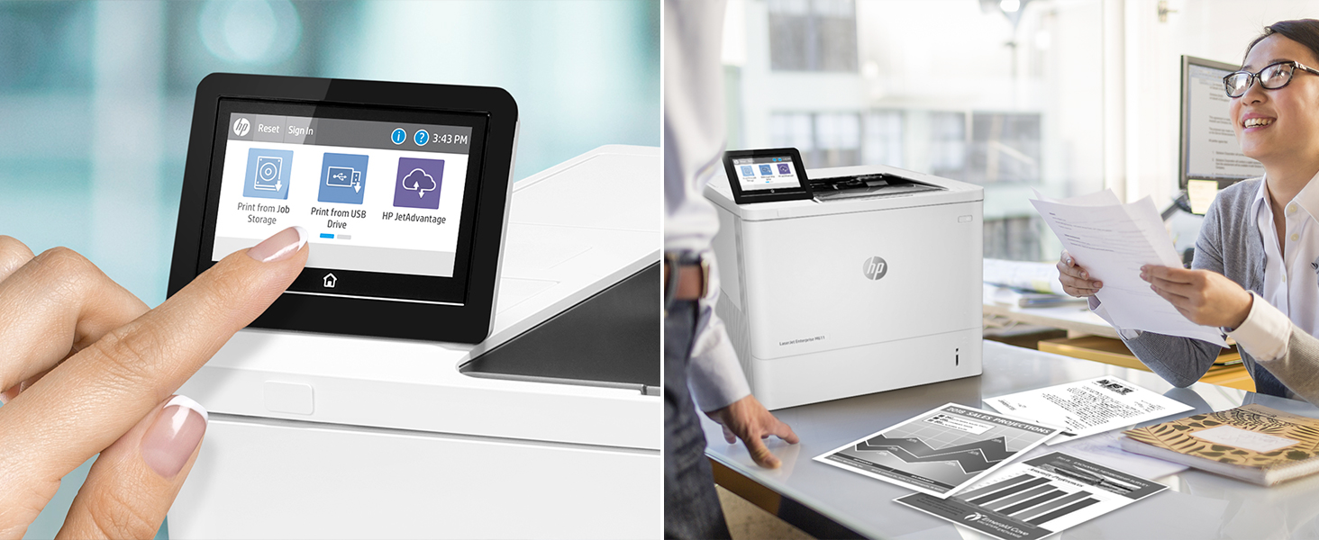 laserjet enterprise m611 security 2-sided printing color touchscreen
