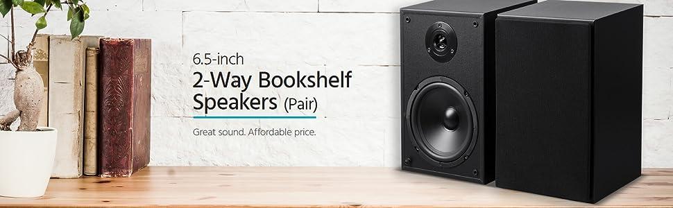 Monoprice MP-65TW 6.5in 2-Way Bookshelf Speakers (Pair)