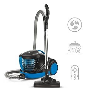 Polti Forzaspira Lecologico Aqua Allergy Turbo Care Aspirador Agua sin Bolsa, Función Turbo, Filtro Hepa H13, 2 turbo cepillos, 850 W, 1 Liter, Negro, Azul: Amazon.es: Hogar