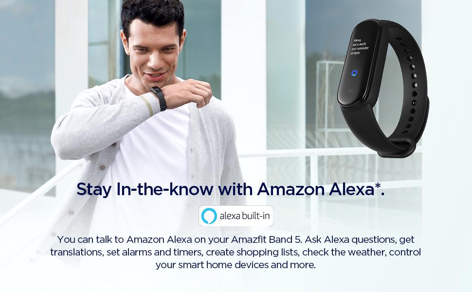 Band 5 Fitness and Activity Tracker with Alexa integrado