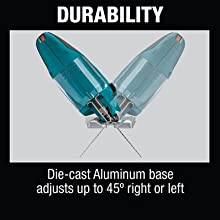 durability die cast aluminum base adjusts right left degrees directions 45 angle
