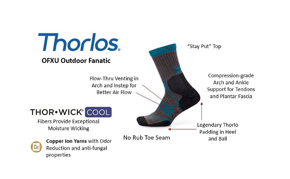 Thorlo OFXU Outdoor Fanatic Moderate Cushion Crew Hiking Sock
